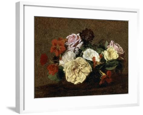 Roses and Nasturtiums in a Vase, 1883-Henri Fantin-Latour-Framed Art Print