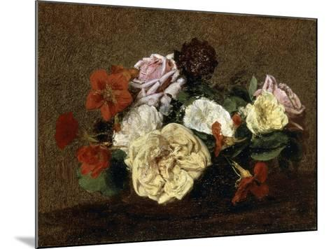 Roses and Nasturtiums in a Vase, 1883-Henri Fantin-Latour-Mounted Giclee Print