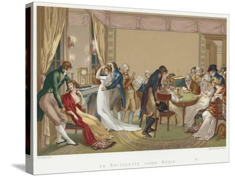 Ladies and Gentlemen Playing La Bouillotte, France, C1804-1814-Jean Francois Bosio-Stretched Canvas Print