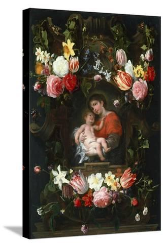 Garland of Flowers with Madonna and Child, First Third of 17th C-Daniel Seghers-Stretched Canvas Print