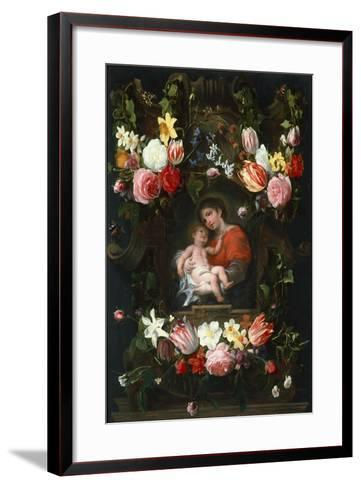 Garland of Flowers with Madonna and Child, First Third of 17th C-Daniel Seghers-Framed Art Print