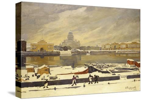 First Snow. View of the Senate Square from the University Embankment, 1917-Anna Petrovna Ostroumova-Lebedeva-Stretched Canvas Print