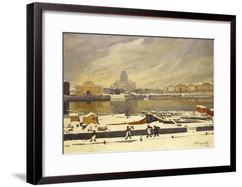 First Snow. View of the Senate Square from the University Embankment, 1917-Anna Petrovna Ostroumova-Lebedeva-Framed Art Print