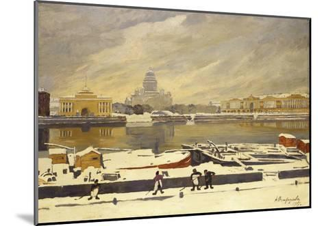 First Snow. View of the Senate Square from the University Embankment, 1917-Anna Petrovna Ostroumova-Lebedeva-Mounted Giclee Print