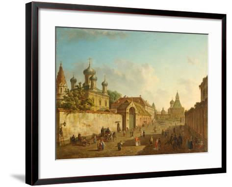 View from the Lubyanka Square to the Vladimir Gate in Moscow, 1800S-Fyodor Yakovlevich Alexeyev-Framed Art Print