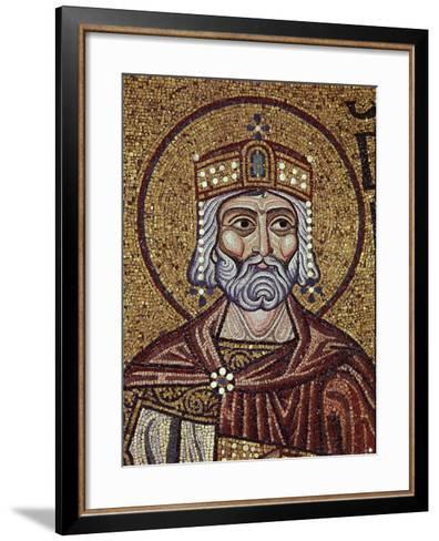 King David (Detail of Interior Mosaics in the St. Mark's Basilic), 12th Century--Framed Art Print