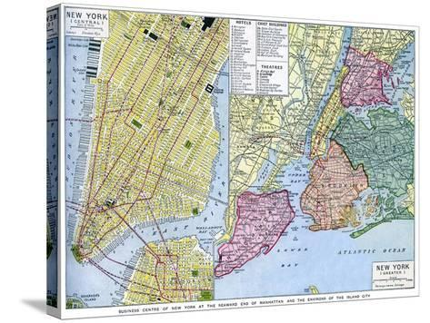Map of New York City, USA, C1930S--Stretched Canvas Print