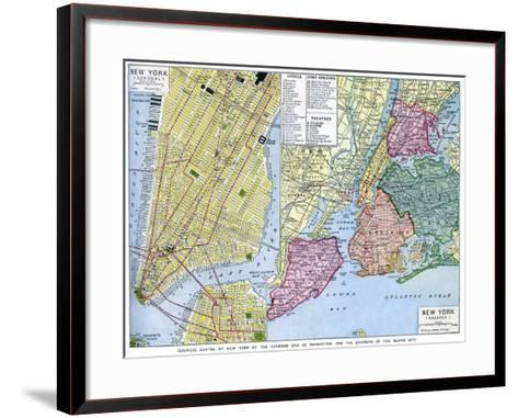 Map of New York City, USA, C1930S--Framed Art Print