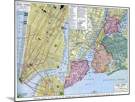 Map of New York City, USA, C1930S--Mounted Giclee Print