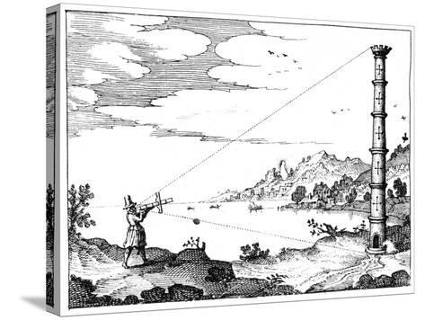 Using a Cross-Staff to Measure the Height of a Tower, 1617-1619--Stretched Canvas Print