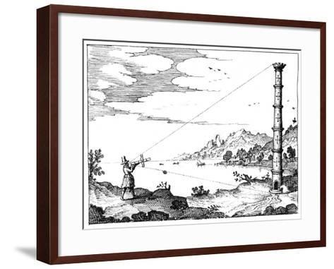 Using a Cross-Staff to Measure the Height of a Tower, 1617-1619--Framed Art Print