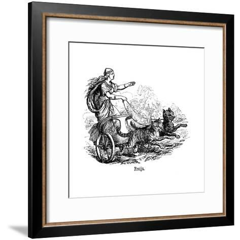 Freya (Frig) Goddess of Love in Scandinavian Mythology, Driving Her Chariot Pulled by Cats--Framed Art Print