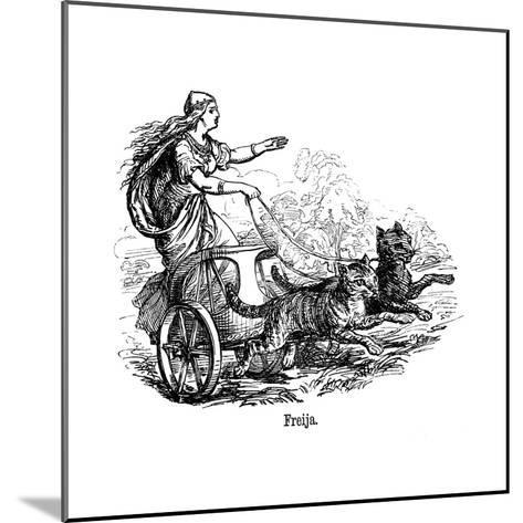 Freya (Frig) Goddess of Love in Scandinavian Mythology, Driving Her Chariot Pulled by Cats--Mounted Giclee Print