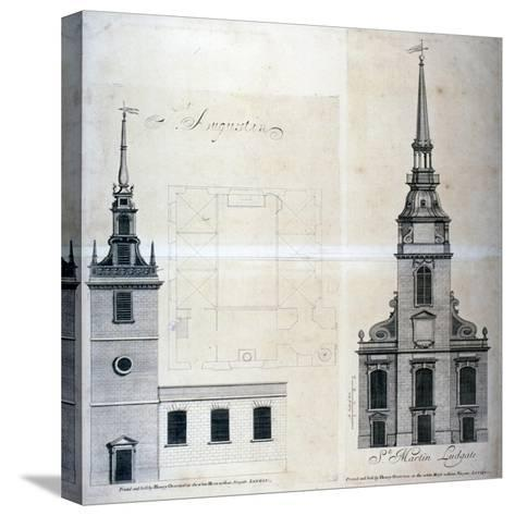 Elevation and Plan of St Augustine, Watling Street, City of London, 1740--Stretched Canvas Print