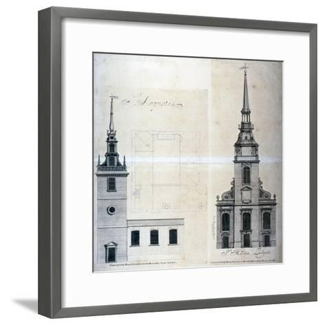 Elevation and Plan of St Augustine, Watling Street, City of London, 1740--Framed Art Print