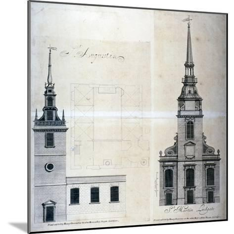 Elevation and Plan of St Augustine, Watling Street, City of London, 1740--Mounted Giclee Print