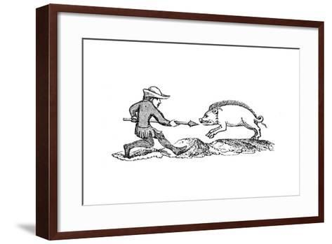 Spearing a Boar, 14th Century--Framed Art Print