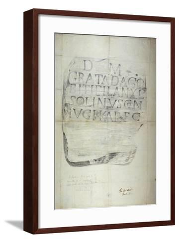 Roman Memorial Stone Erected by Solinus in Memory of His Wife Grata, 1875--Framed Art Print