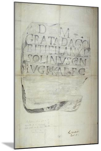 Roman Memorial Stone Erected by Solinus in Memory of His Wife Grata, 1875--Mounted Giclee Print