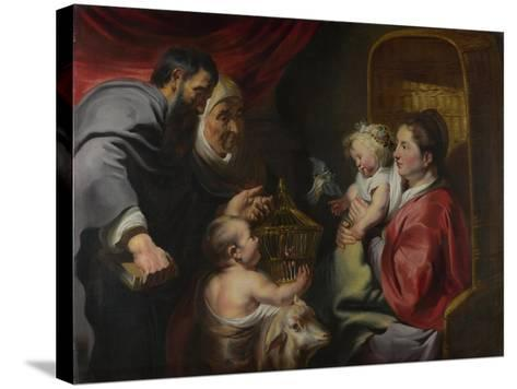 The Virgin and Child with Saints Zacharias, Elizabeth and John the Baptist, C. 1620-Jacob Jordaens-Stretched Canvas Print