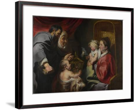 The Virgin and Child with Saints Zacharias, Elizabeth and John the Baptist, C. 1620-Jacob Jordaens-Framed Art Print