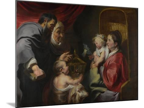 The Virgin and Child with Saints Zacharias, Elizabeth and John the Baptist, C. 1620-Jacob Jordaens-Mounted Giclee Print