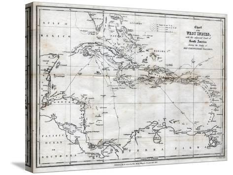 Chart of the West Indies, with the Adjacent Coast of South America, 1830-J&C Walker-Stretched Canvas Print