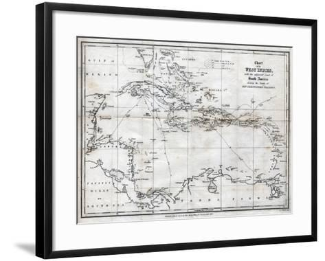 Chart of the West Indies, with the Adjacent Coast of South America, 1830-J&C Walker-Framed Art Print