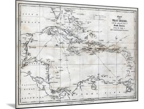 Chart of the West Indies, with the Adjacent Coast of South America, 1830-J&C Walker-Mounted Giclee Print
