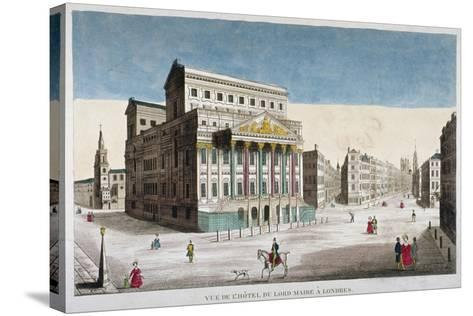 View of Mansion House, Cornhill and Lombard Street, City of London, 1790--Stretched Canvas Print