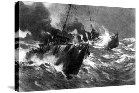 British Torpedo Craft in North Sea Storms, First World War, 1914--Stretched Canvas Print