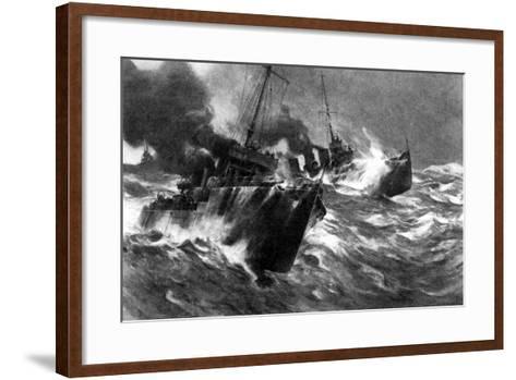 British Torpedo Craft in North Sea Storms, First World War, 1914--Framed Art Print
