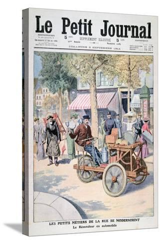 The Modernisation of the Street Traders: the Knife-Grinder's Car, 1911--Stretched Canvas Print