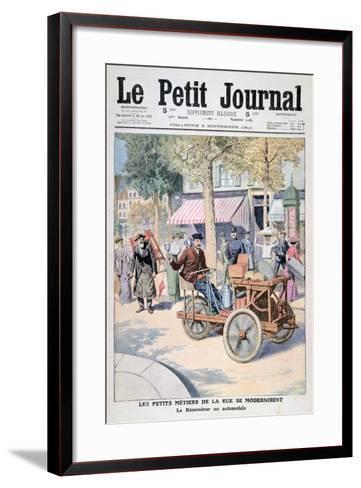 The Modernisation of the Street Traders: the Knife-Grinder's Car, 1911--Framed Art Print