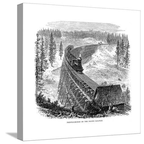 Trestle Bridge on the Union Pacific Railroad, USA, 1876--Stretched Canvas Print