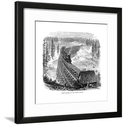 Trestle Bridge on the Union Pacific Railroad, USA, 1876--Framed Art Print