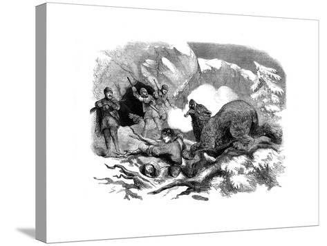 Jack Curling's Narrow Escape from a Ferocious Bear, 1855--Stretched Canvas Print
