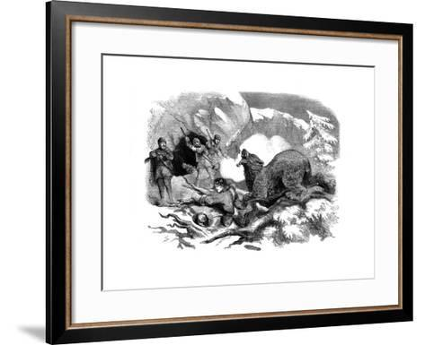 Jack Curling's Narrow Escape from a Ferocious Bear, 1855--Framed Art Print