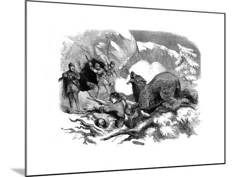 Jack Curling's Narrow Escape from a Ferocious Bear, 1855--Mounted Giclee Print