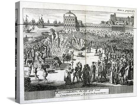 Burning of Heretics Sentenced by the Inquisition, 1759--Stretched Canvas Print