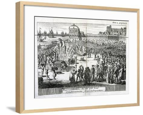 Burning of Heretics Sentenced by the Inquisition, 1759--Framed Art Print