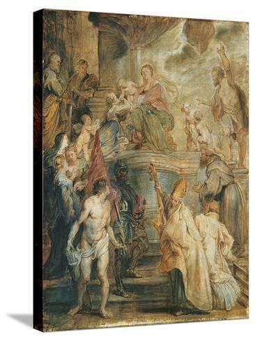 The Mystical Marriage of Saint Catherine-Peter Paul Rubens-Stretched Canvas Print
