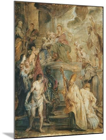 The Mystical Marriage of Saint Catherine-Peter Paul Rubens-Mounted Giclee Print