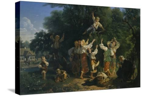 Cherry Harvest in a Landowner's Fruit Garden in the Ukraine, 1858-Ivan Ivanovich Sokolov-Stretched Canvas Print