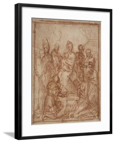 Enthroned Madonna with Child and Eight Saints (Composition Stud), 1528-Andrea del Sarto-Framed Art Print