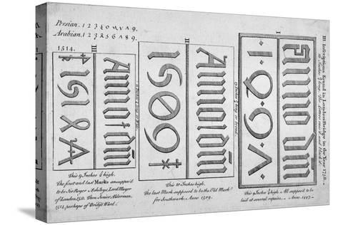 Stone Date Marks Reading 1497, 1506 and 1514 from London Bridge, 1758--Stretched Canvas Print