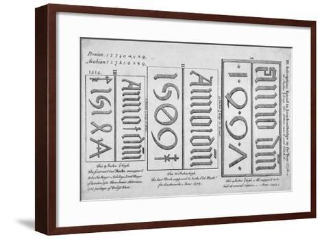 Stone Date Marks Reading 1497, 1506 and 1514 from London Bridge, 1758--Framed Art Print