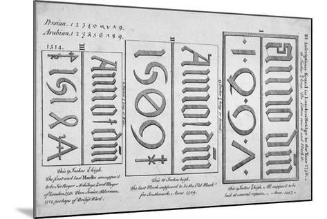Stone Date Marks Reading 1497, 1506 and 1514 from London Bridge, 1758--Mounted Giclee Print