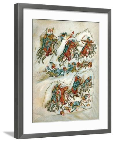 Russians Routing Bulgarians in a Cavalry Skirmish--Framed Art Print