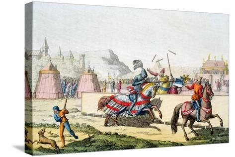 Armoured Knights Jousting at a Tournament, 12th Century, C1820--Stretched Canvas Print